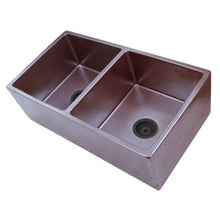 "Load image into Gallery viewer, Nantucket 33"" Double Bowl Farmhouse Fireclay Sink with Metallic Glaze - FCFS3318D-ACCIAIO - Manor House Sinks"