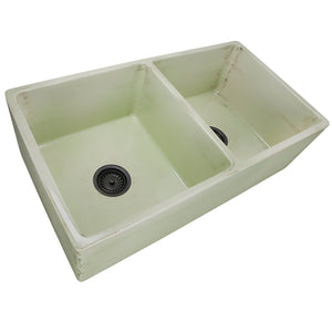 "Nantucket 33"" Double Bowl Farmhouse Fireclay Sink with Shabby Green Finish - FCFS3318D-ShabbyGreen - Manor House Sinks"