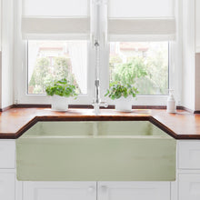 "Load image into Gallery viewer, Nantucket 33"" Double Bowl Farmhouse Fireclay Sink with Shabby Green Finish - FCFS3318D-ShabbyGreen - Manor House Sinks"