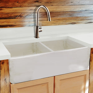 "Nantucket 33"" Double Bowl Farmhouse Fireclay Sink with Shabby Straw Finish - FCFS3318D-ShabbyStraw - Manor House Sinks"