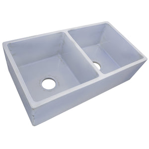 "Nantucket 33"" Double Bowl Farmhouse Fireclay Sink with Shabby Sugar Finish - FCFS3318D-ShabbySugar - Manor House Sinks"