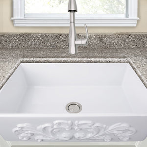 "Nantucket 33"" Farmhouse Fireclay Sink with Filigree Apron - FCFS3320S-Filigree - Manor House Sinks"