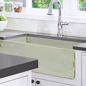 "Nantucket 33"" Farmhouse Fireclay Sink with Shabby Green Finish - FCFS3320S-ShabbyGreen - Manor House Sinks"