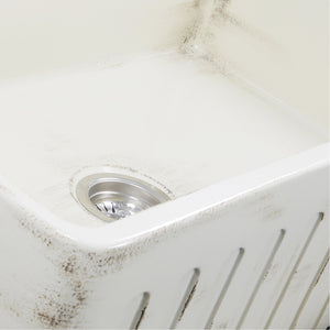 "Nantucket 33"" Farmhouse Fireclay Sink with Shabby Straw Finish - FCFS3320S-ShabbyStraw - Manor House Sinks"
