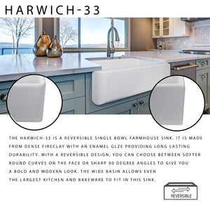 "Nantucket 33"" Italian Farmhouse Fireclay Sink - Harwich-33 - Manor House Sinks"