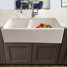 Load image into Gallery viewer, Nantucket 60/40 Double Bowl Farmhouse Apron Fireclay Sink - Hyannis-36-DBL - Manor House Sinks