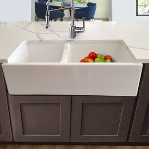 Nantucket 60/40 Double Bowl Farmhouse Apron Fireclay Sink - Hyannis-36-DBL - Manor House Sinks