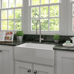 ZLINE Turin Farmhouse Reversible Fireclay Sink in White Gloss (FRC5117-WH-30)
