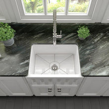 Load image into Gallery viewer, ZLINE Venice Farmhouse Reversible Fireclay Sink in White Gloss (FRC5120-WH-24)