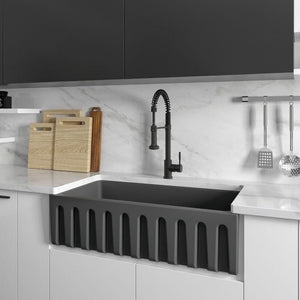 ZLINE Venice Farmhouse Reversible Fireclay Sink in Charcoal (FRC5122-CL-36)