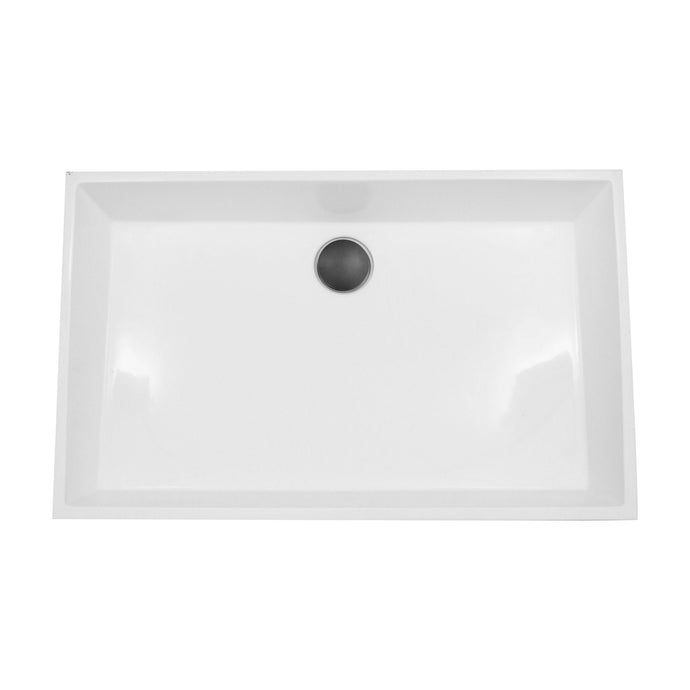 Nantucket Rectangle White Glacierstone Sink - NS-GSTR24 - Manor House Sinks