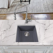 "Load image into Gallery viewer, Nantucket 17"" Single Bowl Undermount Granite Composite Bar-Prep Sink Titanium - PR1716-TI - Manor House Sinks"