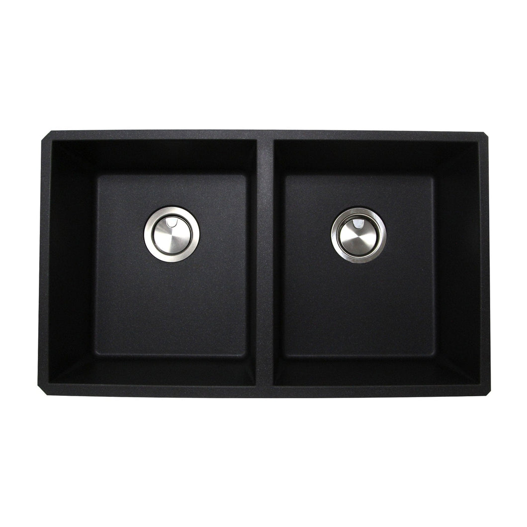 Nantucket  50/50 Double Bowl Undermount Granite Composite Black - PR5050-BL-UM - Manor House Sinks