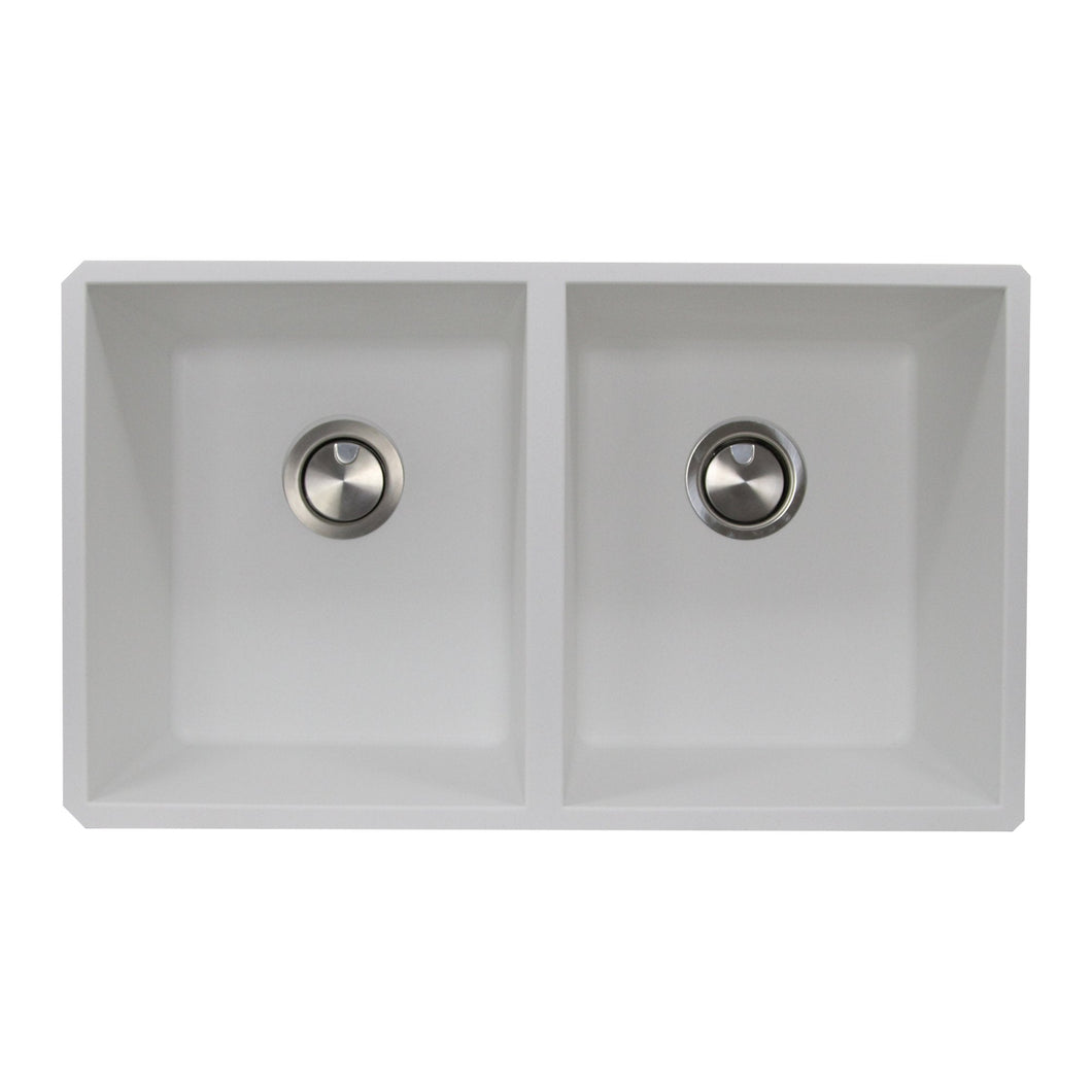 Nantucket 50/50 Double Bowl Undermount Granite Composite White - PR5050-W-UM - Manor House Sinks