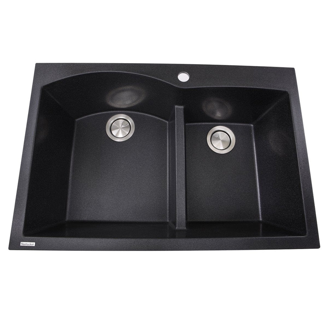 Nantucket 60/40 Double Bowl Dual-mount Granite Composite Black - PR6040-BL - Manor House Sinks