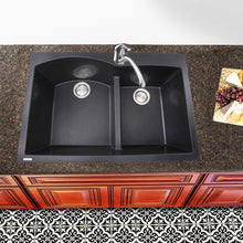 Load image into Gallery viewer, Nantucket 60/40 Double Bowl Dual-mount Granite Composite Black - PR6040-BL - Manor House Sinks