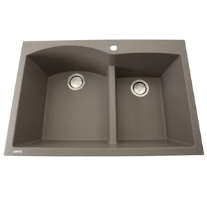 Nantucket 60/40 Double Bowl Dual-mount Granite Composite Truffle - PR6040-TR - Manor House Sinks