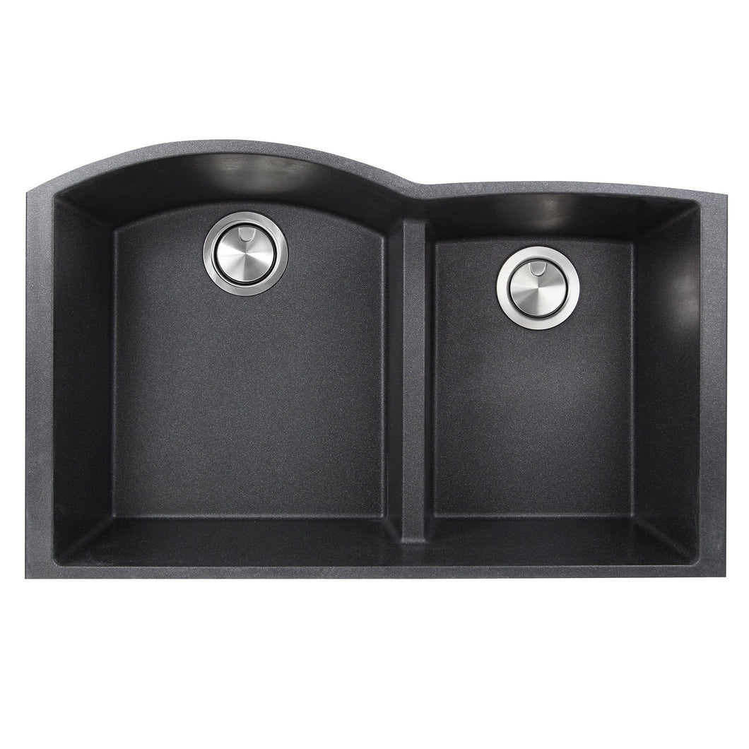 Nantucket 60/40 Double Bowl Undermount Granite Composite Black - PR6040-BL-UM - Manor House Sinks