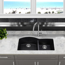 Load image into Gallery viewer, Nantucket 60/40 Double Bowl Undermount Granite Composite Black - PR6040-BL-UM - Manor House Sinks