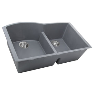 Nantucket 60/40 Double Bowl Undermount Granite Composite Titanium - PR6040-TI-UM - Manor House Sinks