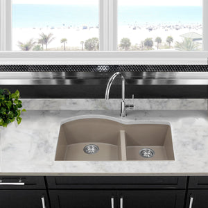 Nantucket 60/40 Double Bowl Undermount Granite Composite Truffle - PR6040-TR-UM - Manor House Sinks