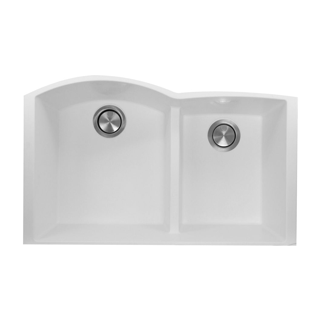 Nantucket 60/40 Double Bowl Undermount Granite Composite White - PR6040-W-UM - Manor House Sinks
