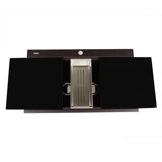 Nantucket Large Double Bowl Prep Station Topmount Granite Composite Brown - PR3420PS-BR - Manor House Sinks