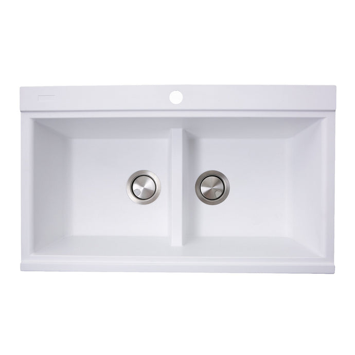 Nantucket Large Double Bowl Prep Station Topmount Granite Composite White - PR3420PS-W - Manor House Sinks