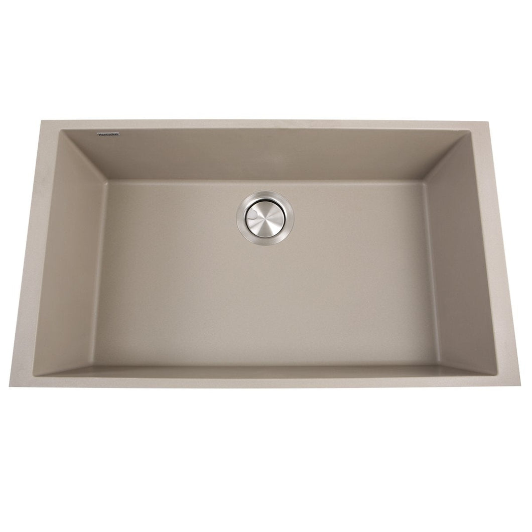 Nantucket Large Single Bowl Undermount Granite Composite Truffle - PR3018-TR - Manor House Sinks