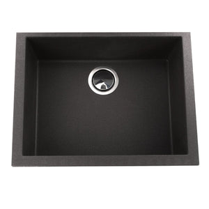Nantucket Small Single Bowl Undermount Granite Composite Black - PR2418-BL - Manor House Sinks