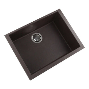 Nantucket Small Single Bowl Undermount Granite Composite Brown - PR2418-BR - Manor House Sinks