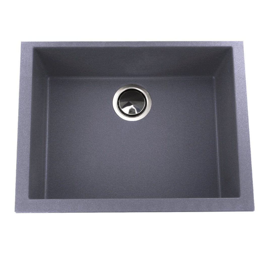 Nantucket Small Single Bowl Undermount Granite Composite Titanium - PR2418-TI - Manor House Sinks