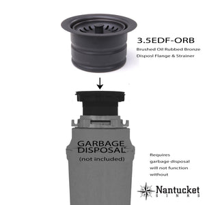 "Nantucket 3.5"" Extended Flange Disposal Kitchen Drain Brushed Oil Rubbed Bronze - 3.5EDF-ORB - Manor House Sinks"
