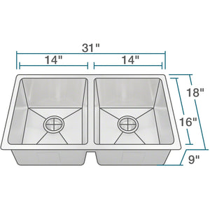"31"" 18 Gauge Kitchen Ensemble - PD0213-ENS - Manor House Sinks"