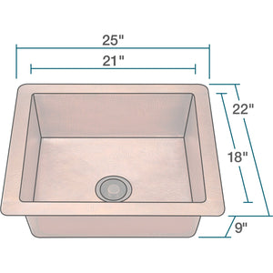 "Polaris 25"" Copper Single Bowl Sink - P409 - Manor House Sinks"