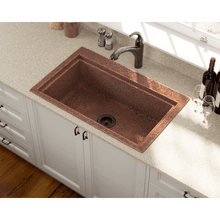 "Load image into Gallery viewer, Polaris 31"" Copper Single Bowl Dual-Mount Sink - P519 - Manor House Sinks"