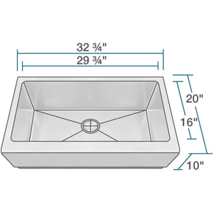 "Polaris 32"" 16 Gauge Kitchen Ensemble - P504-ENS - Manor House Sinks"