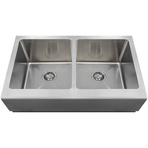 "Polaris 32"" Farmhouse Double Equal Bowl Sink - P604 - Manor House Sinks"