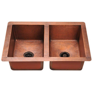 "Polaris 33"" Copper Equal Double Bowl Sink - P209 - Manor House Sinks"