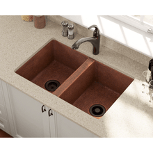 "Load image into Gallery viewer, Polaris 33"" Copper Equal Double Bowl Sink - P209 - Manor House Sinks"