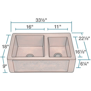 "Polaris 33"" Copper Farmhouse Offset Double Bowl Sink - P119 - Manor House Sinks"