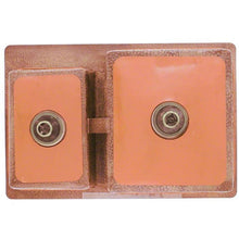 "Load image into Gallery viewer, Polaris 33"" Copper Offset Double Bowl Sink - P109 - Manor House Sinks"