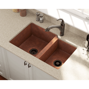 "Polaris 33"" Copper Offset Double Bowl Sink - P109 - Manor House Sinks"