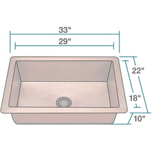"Load image into Gallery viewer, Polaris 33"" Copper Single Bowl Sink - P309 - Manor House Sinks"