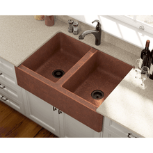 "Load image into Gallery viewer, Polaris 35"" Copper Farmhouse Equal Double Bowl Sink - P219 - Manor House Sinks"