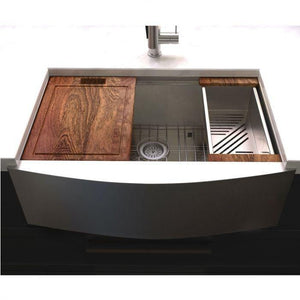 "ZLINE Moritz Farmhouse 33"" Undermount Single Bowl Sink in Stainless Steel with Accessories (SLSAP-33)"