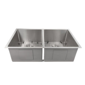 "ZLINE Anton 33"" Undermount Double Bowl Sink in Stainless Steel (SR50D-33)"