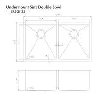"Load image into Gallery viewer, ZLINE Anton 33"" Undermount Double Bowl Sink in Stainless Steel (SR50D-33)"