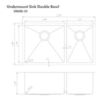 "Load image into Gallery viewer, ZLINE Chamonix 33"" Undermount Double Bowl Sink in Stainless Steel (SR60D-33)"