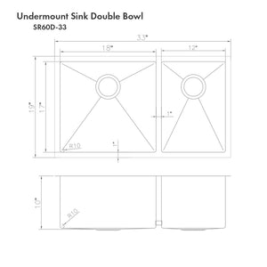 "ZLINE Chamonix 33"" Undermount Double Bowl Sink in Stainless Steel (SR60D-33)"
